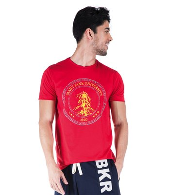 T-SHIRT MC GOLA NORMAL VERMELHA MJ UNIVERSITY