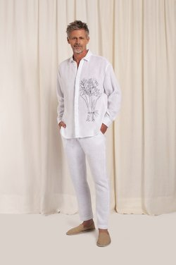 Camisa ML Oversized Linen Bordado Bouquet