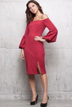 a28c82b973 Vestido Suede Vermelho
