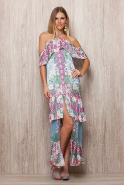 Vestido Fenda Frontal Blue Bird