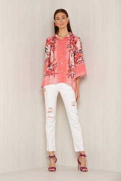 Camisa Botoes Rose Flowers & Poa