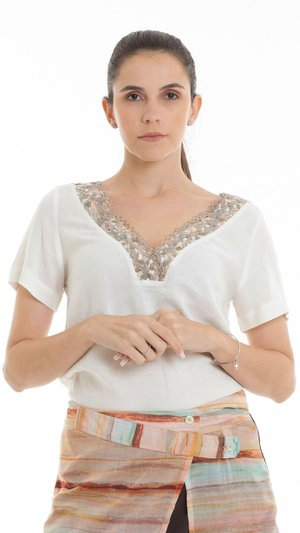 Blusa Decote Renda - Off White