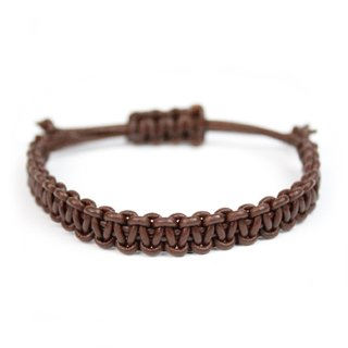 Pulseira - Macramê Leather café | Macrame Leather Bracelet Brown