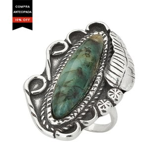 Anel - Leaf 100% Prata & Esmeralda | Ring – Leaf 100% Silver and Emerald