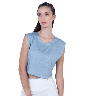 Blusa Blue Jeans Cropped Visco
