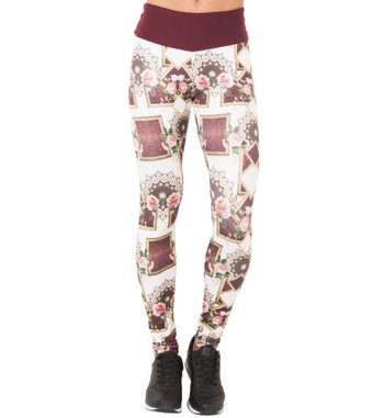 Legging Essencial Burgundy Rose Print