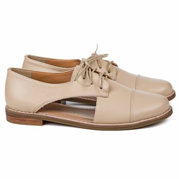 Cut Out Oxford Madeira Couro Nude
