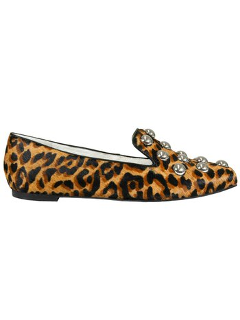 SLIPPER ANIMAL PRINT STUDDED