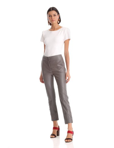Skinny Couro Gris Inv20