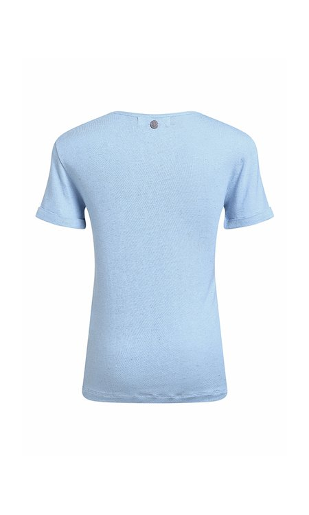 T-SHIRT GOLA V LINHO - LIGHT BLUE