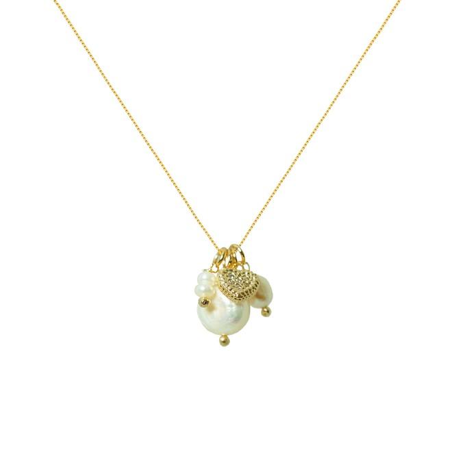 Colar de Pérolas com Pingente Coração Cravejado Folheado a Ouro 18k ... ca62522c37