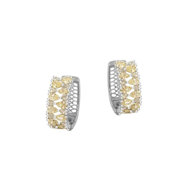 Brinco Argola Gotas Yellow Fancy Folheado a Ródio - New Bijoux c08fa0c21d