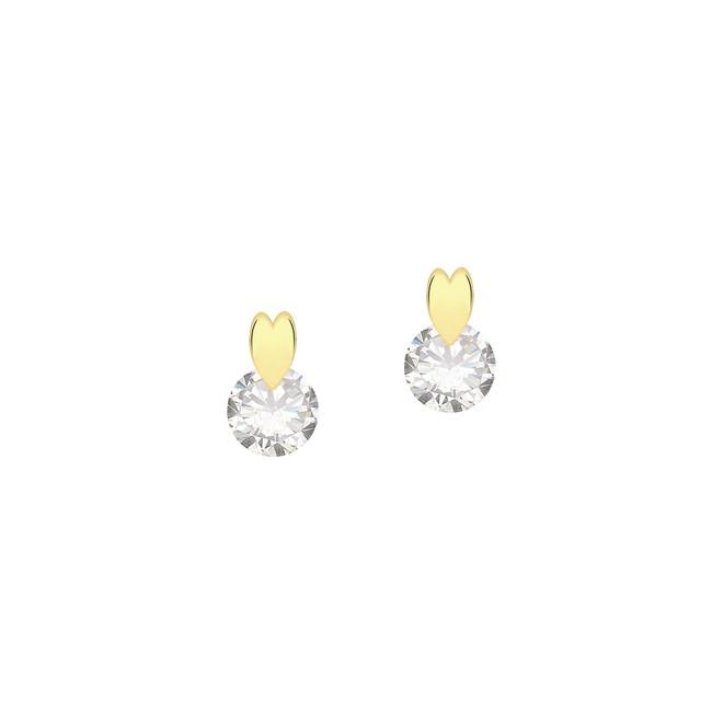Brinco Coração e Ponto de Luz Folheado a Ouro 18k - New Bijoux ea873f435c