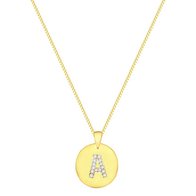 Colar Longo Medalha de Letra Cravejado Folheado a Ouro 18k - New Bijoux 202289cbdf