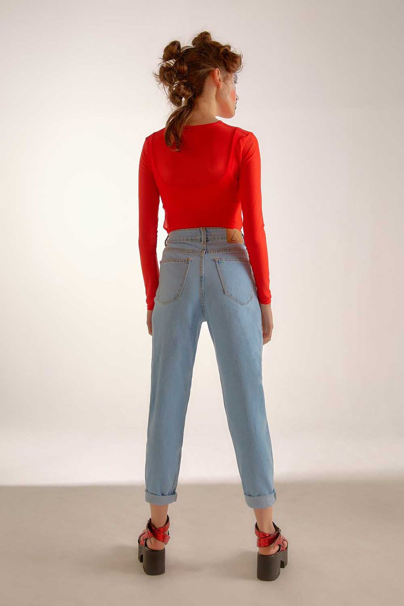 Calça Mom High Jeans Claro