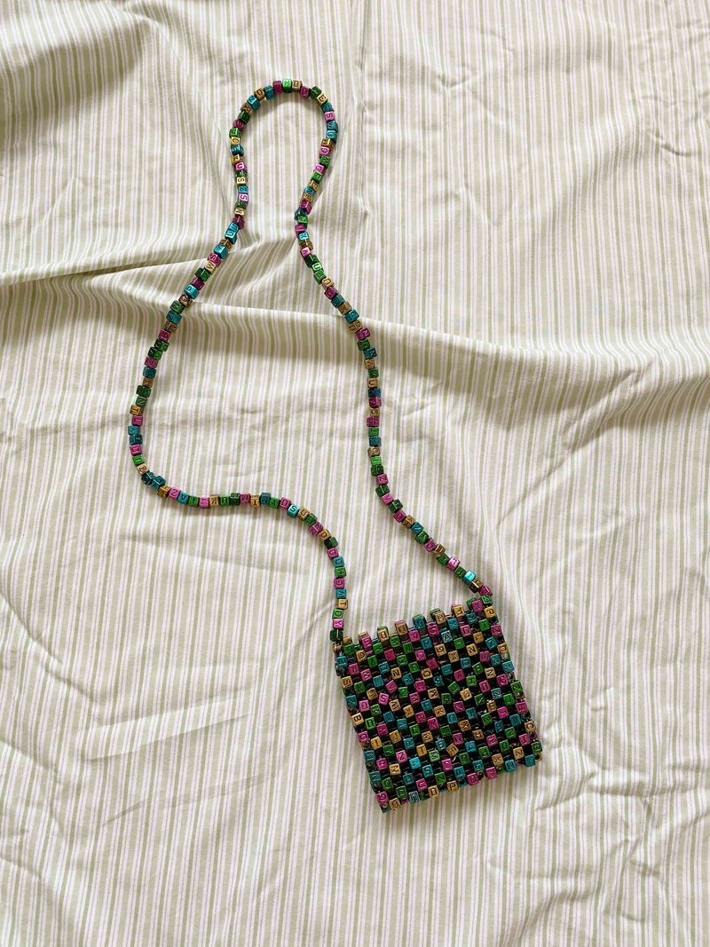 Micro SRI Beaded Bag Metallic Letters