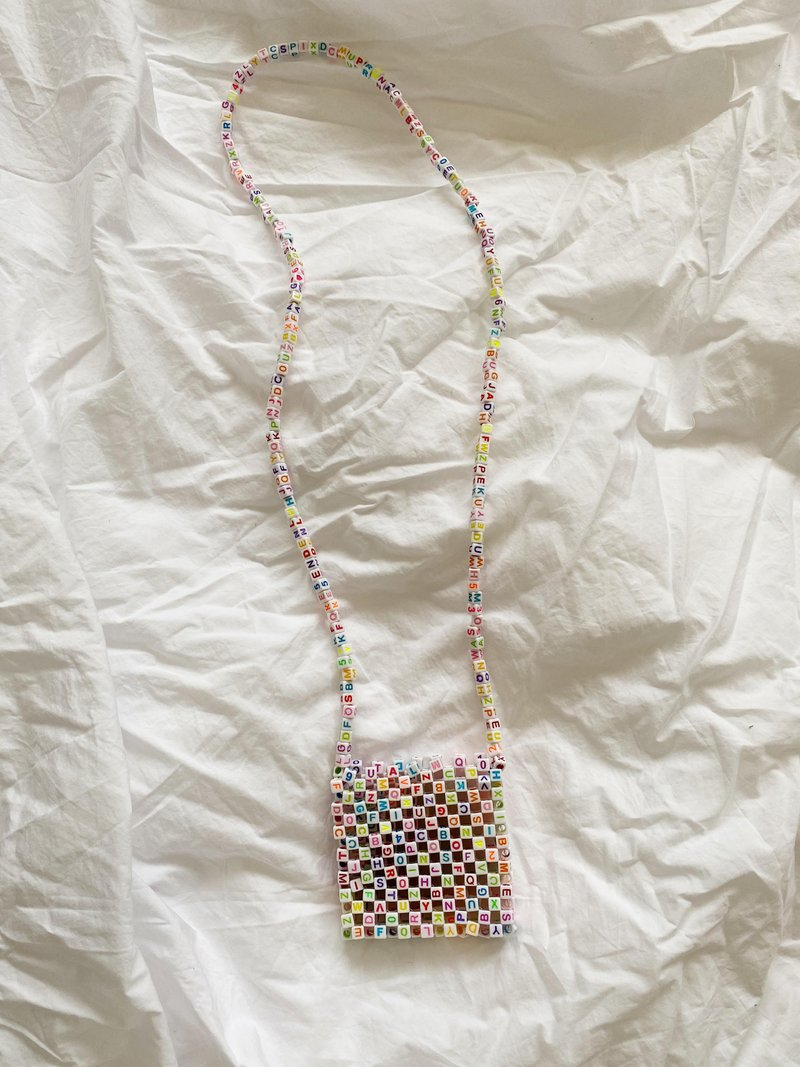 Micro SRI Beaded Bag White Colorful Letters