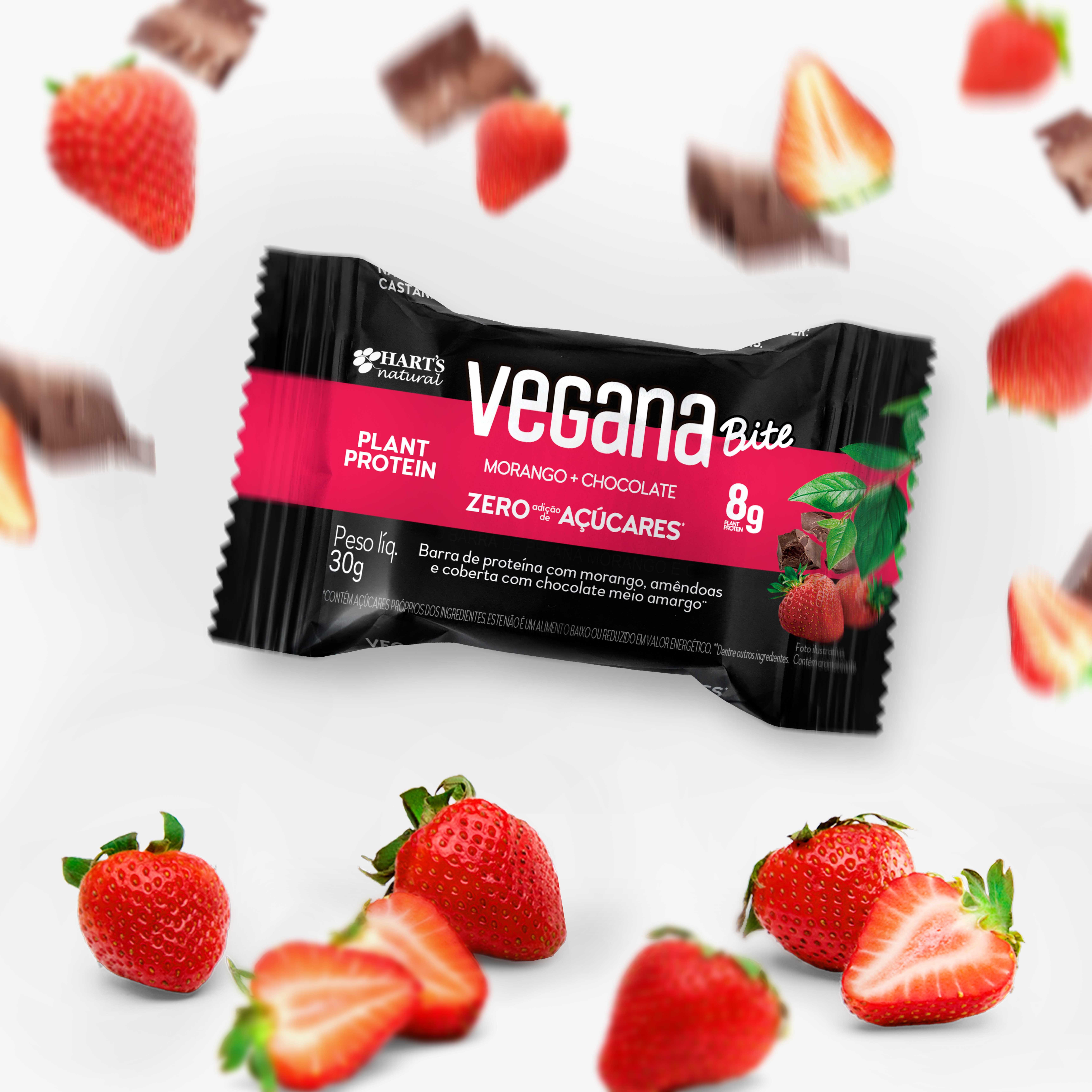 Display de Barra de Proteína Vegana Bite ZERO Morango + Chocolate