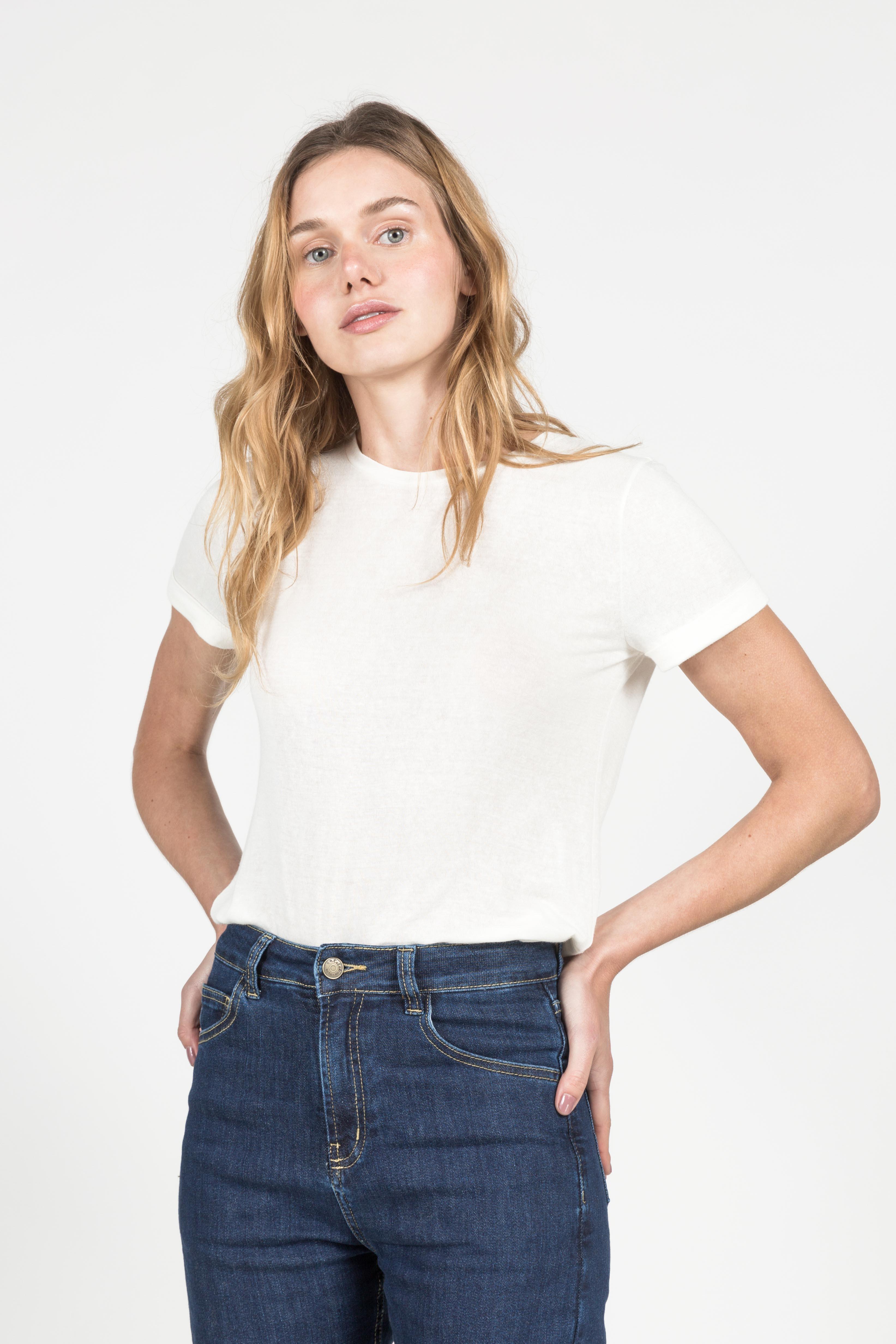 T-Shirt Gola Careca Linho - Branca