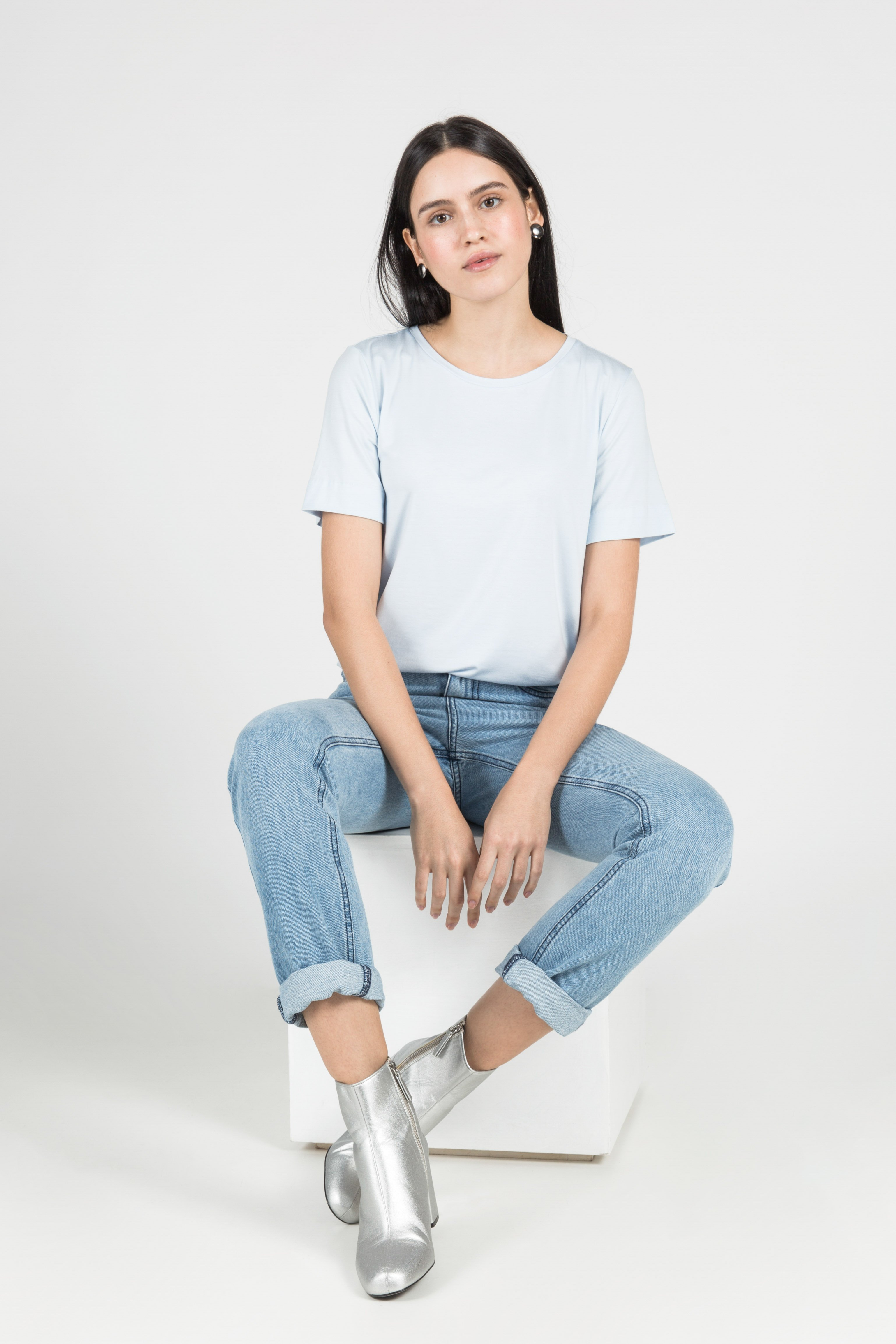 T-Shirt Gola Careca Modal - Azul Pastel