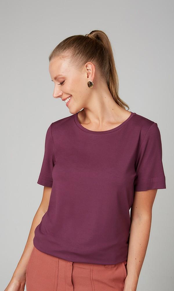 T-Shirt Gola Careca Modal - Ameixa